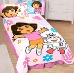 Dora and Boots dancing blanket for little girls.