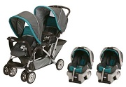Favored Double Stroller with 2 Car Seat Travel System for Twins to ...
