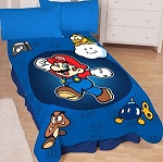 "Super Mario Who's With Me Microraschel Blanke 62"" x 90"" for Young Boys"